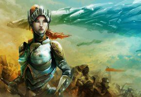 Обои fantasy, women, warrior, девушка, воин, костюм, доспехи