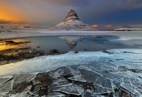 Обои гора, лёд, Исландия, вода, снег