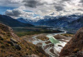 Обои Горы, вершины, снег, равнина, река