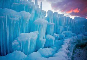Обои вечер, облака, снег, лёд, льдины