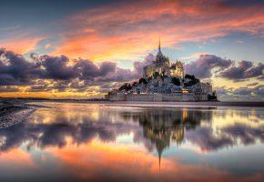 Обои Франция, Нормандия, город, остров-крепость, Мон-Сен-Мишель, гора, Архангела ...