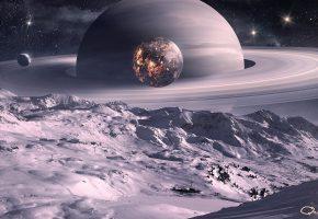 Обои космос, планеты, спутник, qauz, луна, кольца