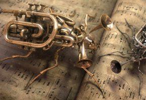 Обои инструменты, жуки, ноты, дудки, тараканы
