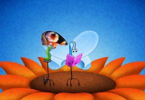Обои живопись, бабочка, гусеница, цветок, насекомые