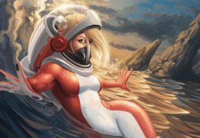 Обои костюм, девушка, волна, море, будущее, арт, акваланг