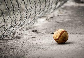 Обои мяч, бейсбол, сетка, асфальт