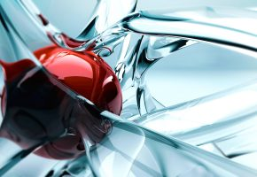 Обои Фигура, графика, стекло, шар, красный