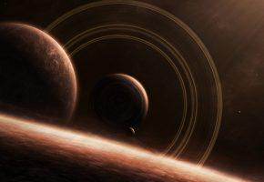 Обои Звезды, планеты, кольца, свечение, пустота