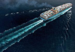 Обои корабль, баржа, груз, плывет, океан, труба