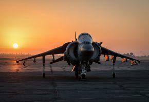 Обои Harrier, Харриер, AV-8B, штурмовик, закат, турбины, крылья
