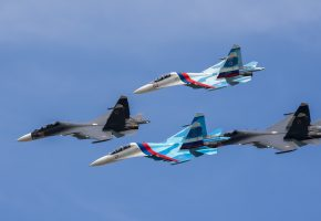 Обои истребители, Су-27, Су-30, строй, полет