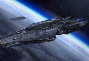 Обои spaceship, космический корабль, planet, планета, орбита, атмосфера, stars, звезды