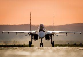 Обои Самолет, Су-30СМ, истребитель, многофункциональный, аэродром, полоса