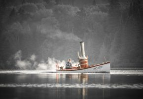 Обои Лодка, паровая, труба, старик, собака, река