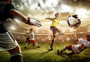 Обои футбол, мяч, удар, стадион, игра, газон, футболист