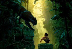Обои Книга джунглей, The Jungle Book, фэнтези, мальчик, пантера, джунгли, развалины, обезьяны, птицы