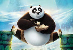 Обои Kung Fu Panda 3, Кунг Фу Панда, По, пельмешки, шпагат, Панда