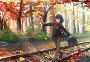 Обои школьница, форма, осень, пути, рельсы, деревья, листья