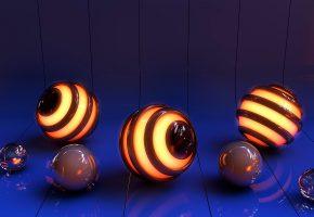 Обои графика, рендеринг, поверхность, отражение, изгиб, линии, шар