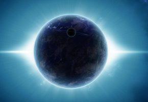 Обои планета, свечение, звезды, сияние