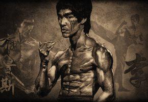 Обои Брюс Ли, мужчина, дракон, единоборства, мышцы
