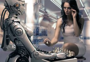 Обои робот, девушки, шахматы, Рендеринг, игра