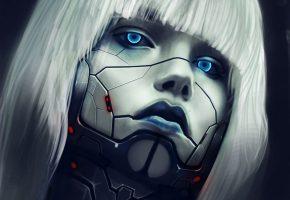 Обои девушка, киборг, cyborg, eyes, face, лицо, глаза