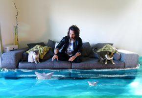 Обои человек, диван, кошка, вода, комната, корабли