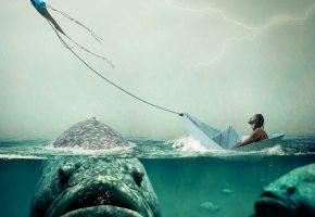 Обои человек, лодка, рыба, вода, дождь, змей