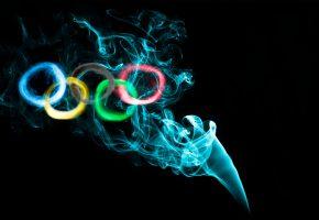 Обои олимпиада, кольца, дым, краски