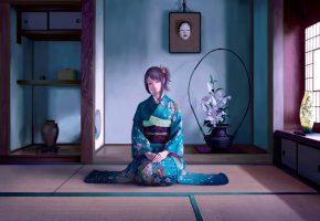 Обои девушка, комната, кимоно, ваза, картина
