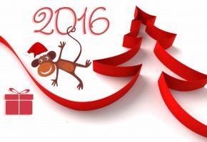 Обои новый год, 2016, обезьяна, рисунок, ёлка, лента, подарок, коробка, цифры
