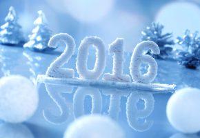 Обои новый год, праздник, надпись, 2016, фон, шары, елочки, шишки