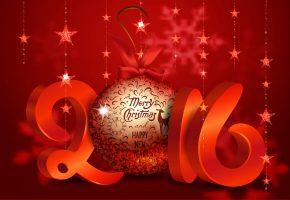 Обои Новый Год, 2016, Шар, украшения, звезды