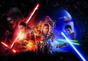 Обои Star Wars, Episode VII, Episode 7, Звездные войны, герои, армия, мечи, Han Solo