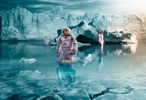 Обои Interstellar, астронавты, арт, вода, лед