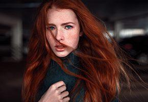 Обои Девушка, Красивая, Рыжеволосая, Веснушки, Волосы, Кофта, Губки