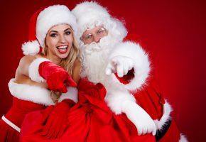 Обои Новый год, Дед мороз, Снегурочка, шапки, перчатки, наряд, радость, настроение