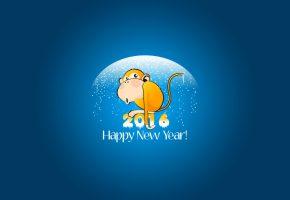 Обои обезьяна, снег, синий, желтый, с новым годом, 2016