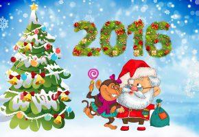 Обои Новый год, 2016, дед мороз, обезьяна, подарки, елка, игрушки