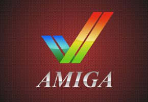 Обои Амига, Amiga, логотип, фон, компьютер