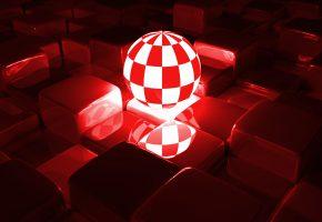 Обои шар, кубики, 3Д, свечение, отражение, грани