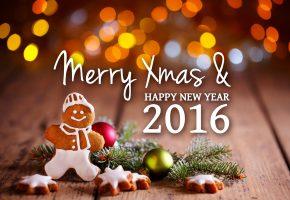Обои новый год, рождество, надпись, поздравление, пожелание, 2016, веточки, шары, печеньки, пряник