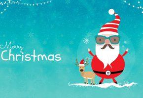 Обои merry christmas, новый год, санта клаус, олень, снежинки