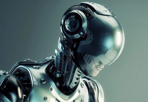 Обои робот, robot, киборг, голова, cyborg