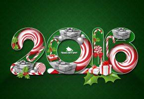 Обои новый год, фон, карамель, подарок, трость, сани