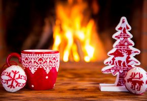 Обои новый год, 2016, камин, огонь, чашка, елка, игрушки, праздник