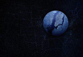 Обои карта, сша, звезды, земля, космос