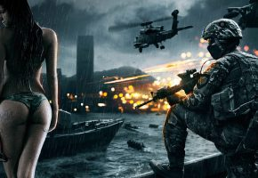 Обои battlefield, war, soldier, girl, gun, fire, city