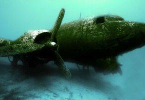 Обои фото, под водой, дайвинг, самолет, красиво